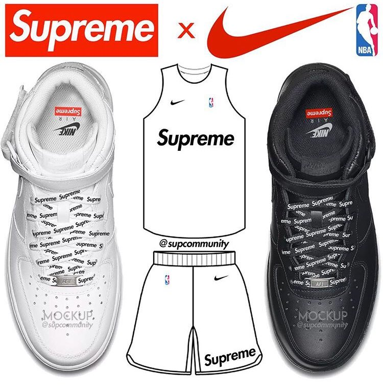 シュプリーム × NBA × ナイキ エアフォース1 ミッド