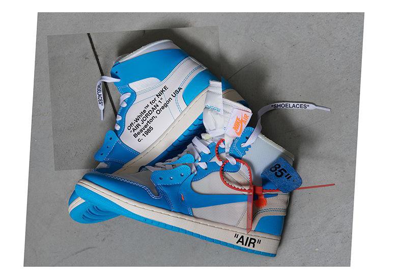 オフホワイト×ナイキ エアジョーダン1 UNC ホワイト/ダークパウダー ブルー