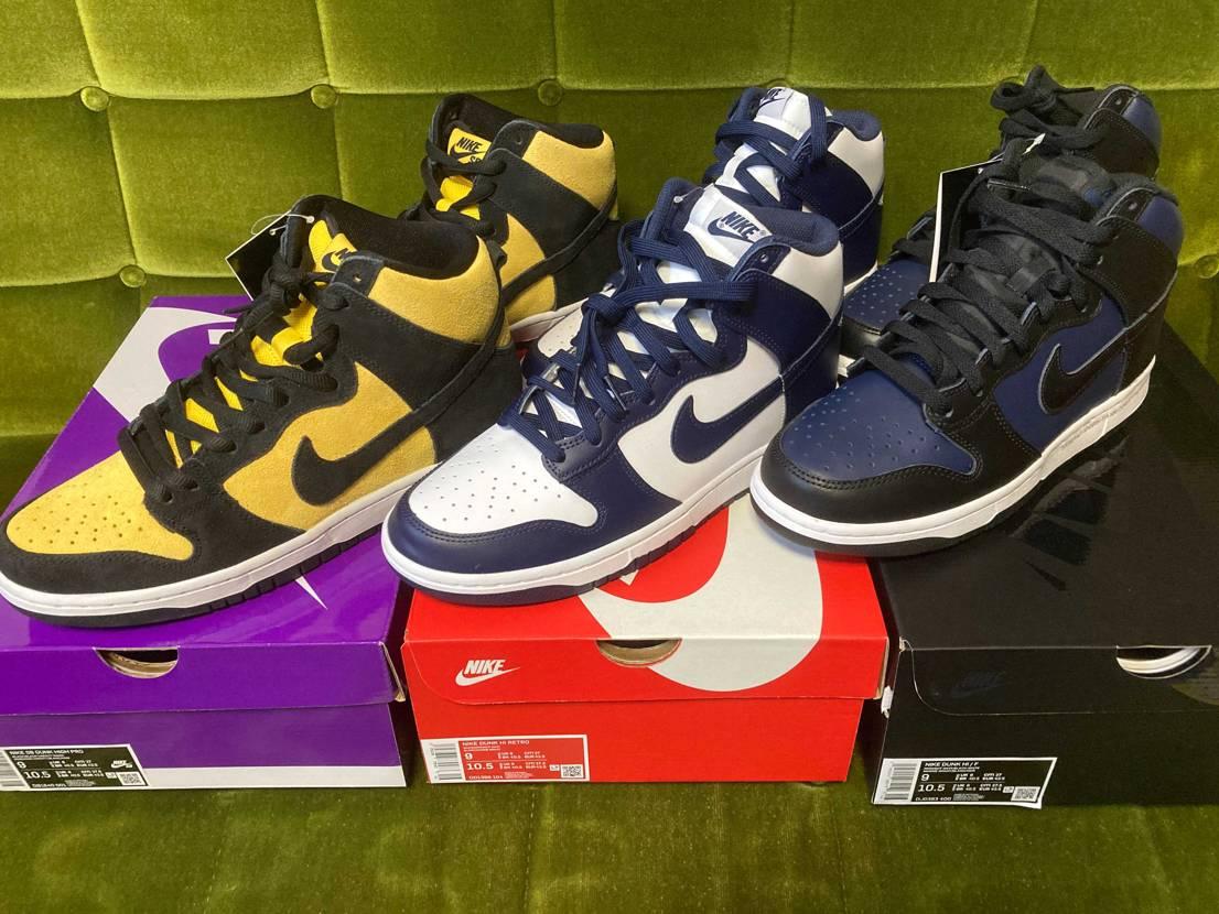 最近入手できたダンク三兄弟を並べてみました。箱も靴自体も三者三様でよいです。