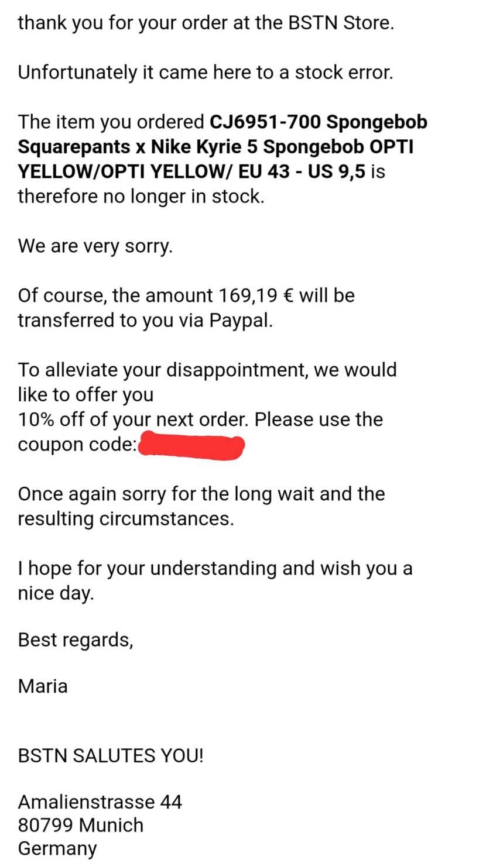 マジか!!(๑°口°ll๑)  BSTNからメール来たから「やっとこさカイリース