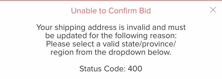 StockXで入札しようとするとこんなエラー表示がでます(´×ω×`) アドレ
