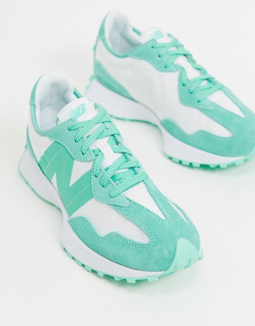 New Balance 1-800-SUMMER 327 trainers in green - exclusive to ASOS