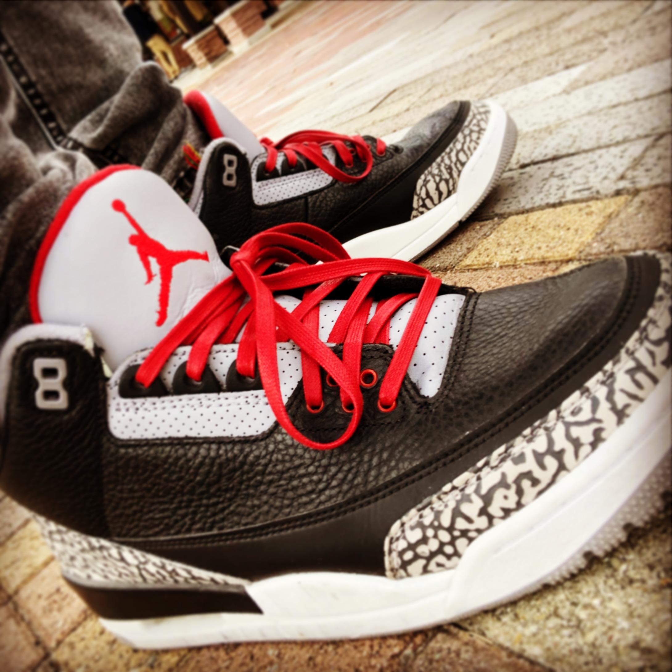 Air Jordan 3 Black cementにkix sixのシューレース
