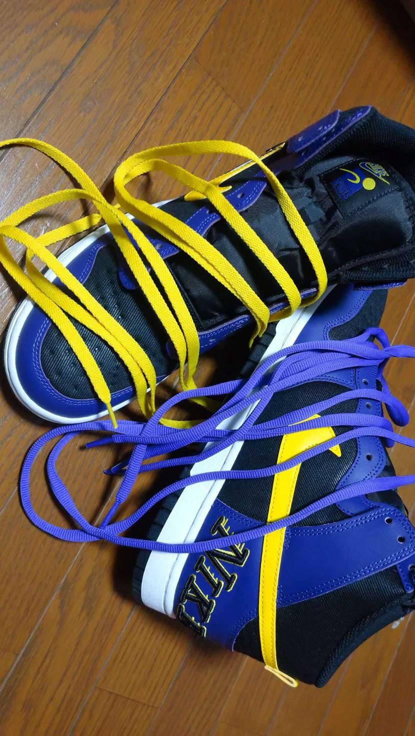 届いたのでさっそく 黄色の平紐vs紫色の丸紐 紫色の丸紐圧勝😆
