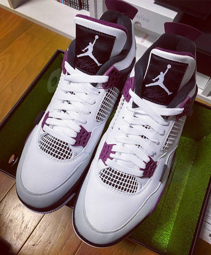 jordan4 ❌ PSG✨👟  到着👑靴の箱の中のカラーが芝生🌈面白い🍀