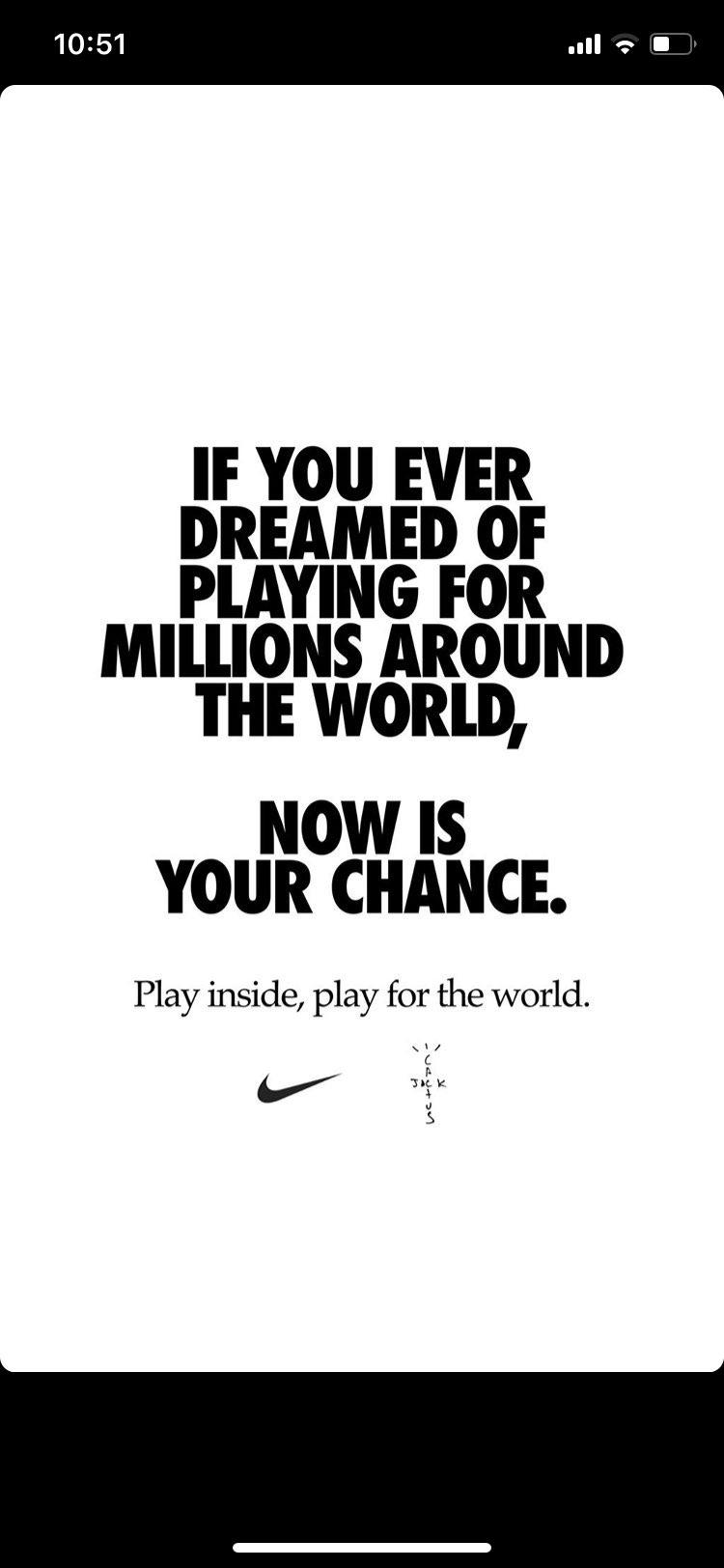 トラヴィスのインスタより (翻訳)世界中で何百万人もプレイすることを夢見たなら