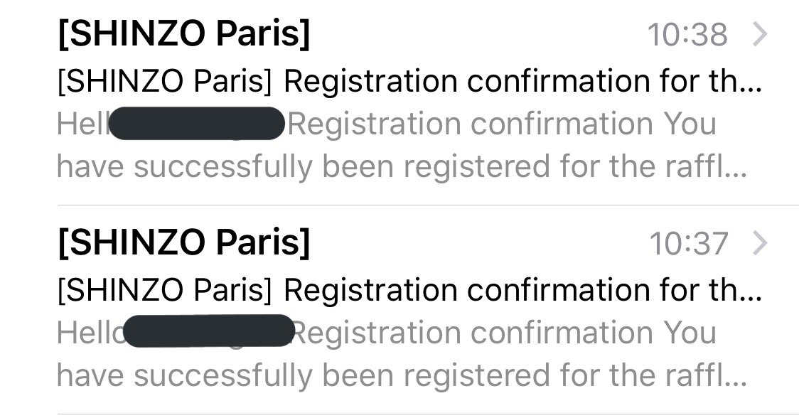 SHINZO Paris で応募したら2通メール来たんですけ