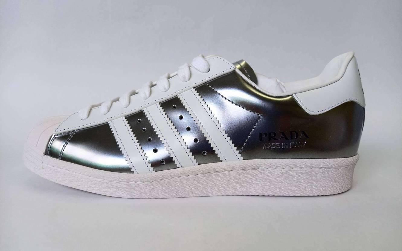 Prada × Adidas Superstar Silver Metallic