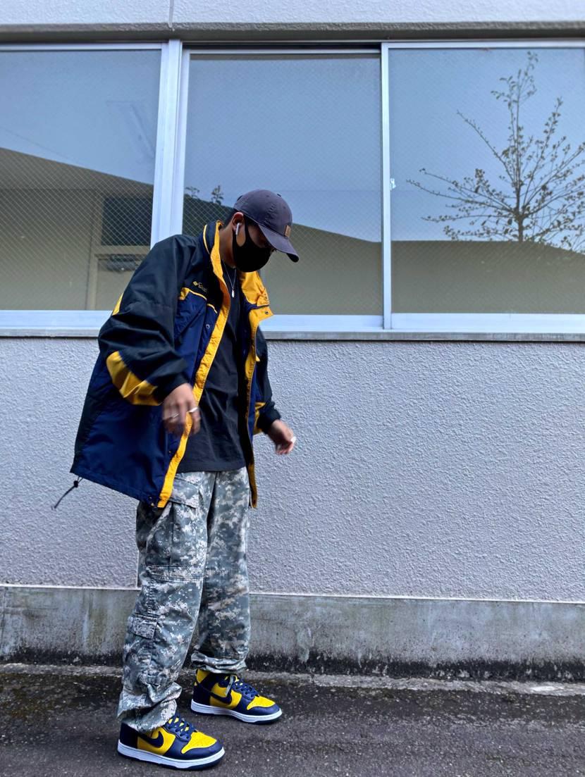 紺と黄のコーデ 古着のジャケットで被らないコーデ #ダンク #ミシガン