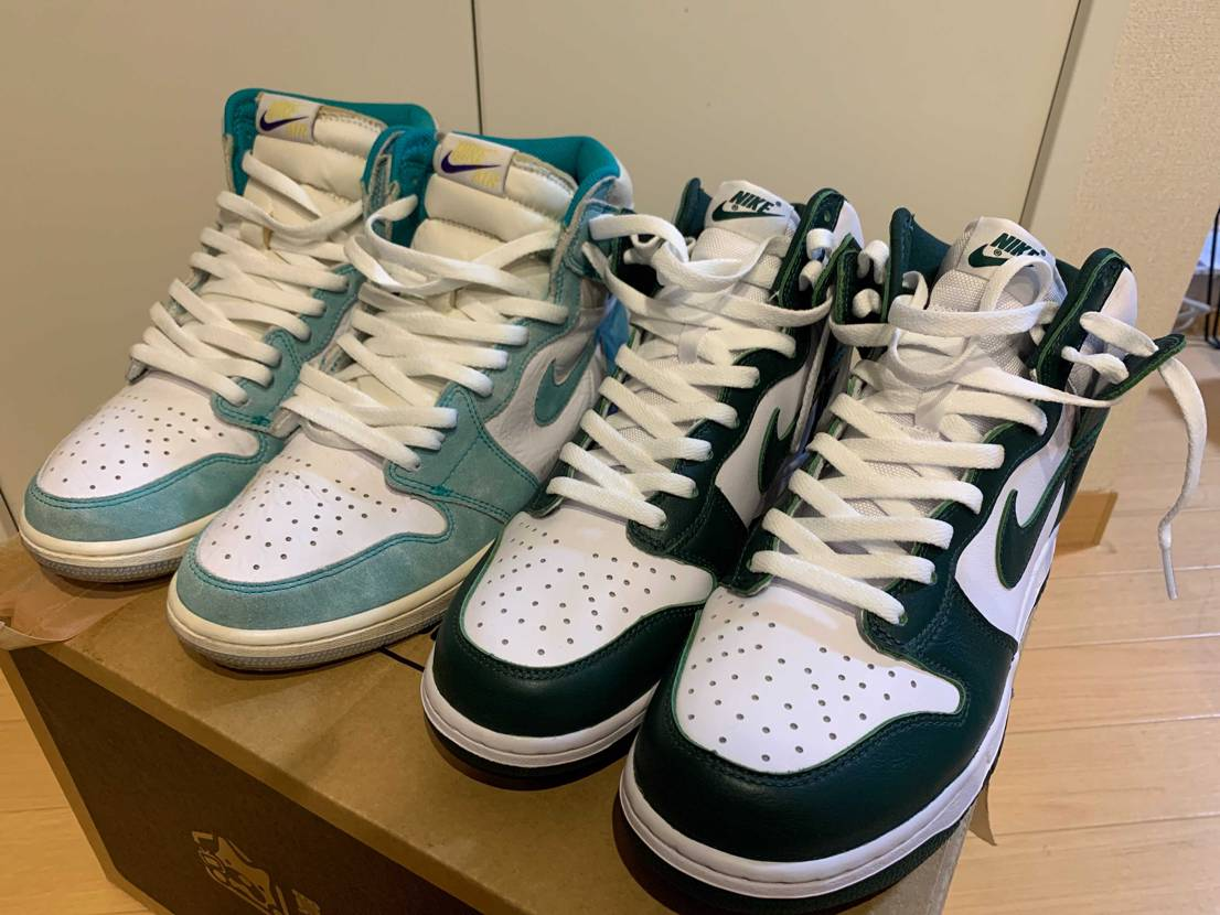 緑好き 色も靴も一緒じゃんって言われそう