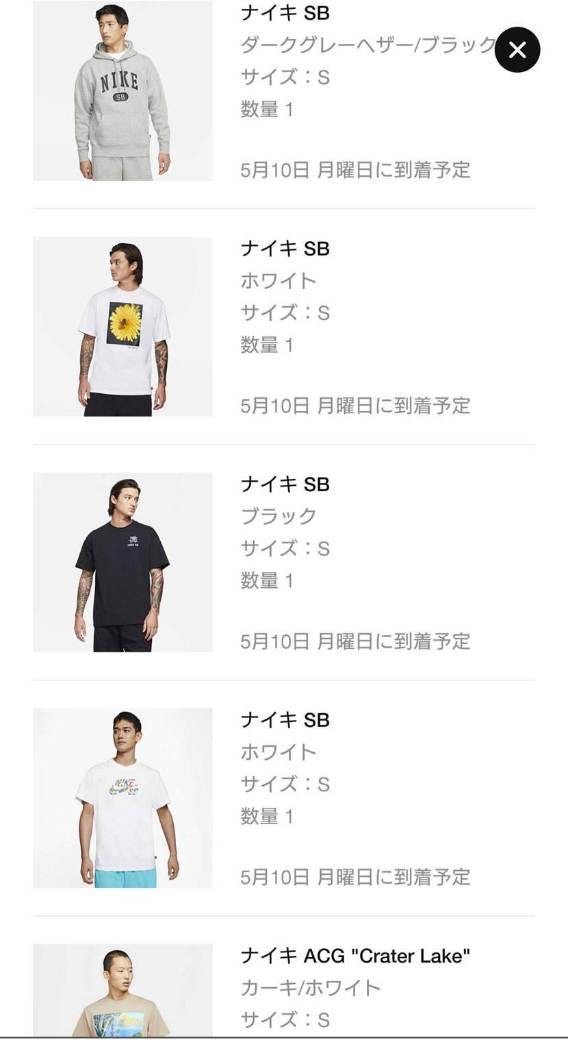 欲しかったSBのTシャツやらパーカーまとめ買い🛹 こんだけ買ってるんやから来週の