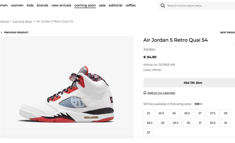Air Jordan 5 Retro Quai 54 Add to Wish