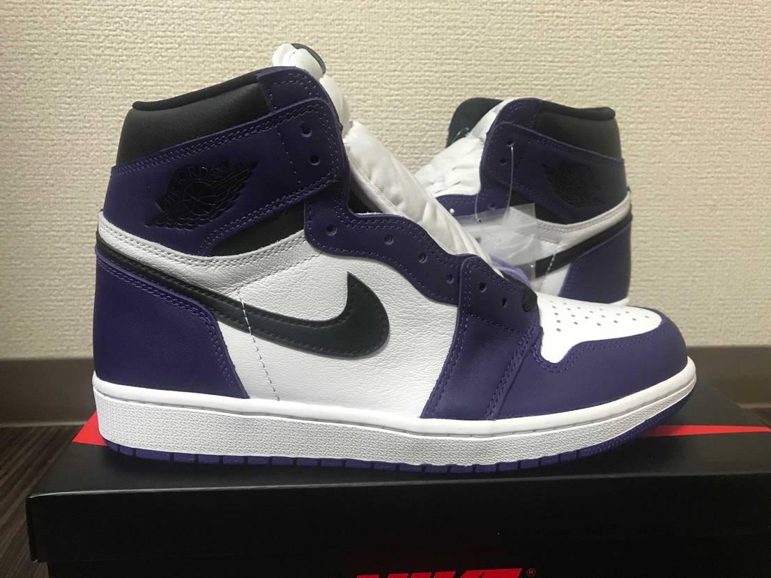 Billy'sから届いた初のJordan1 紫の発色が素晴らしく、フォルムが締