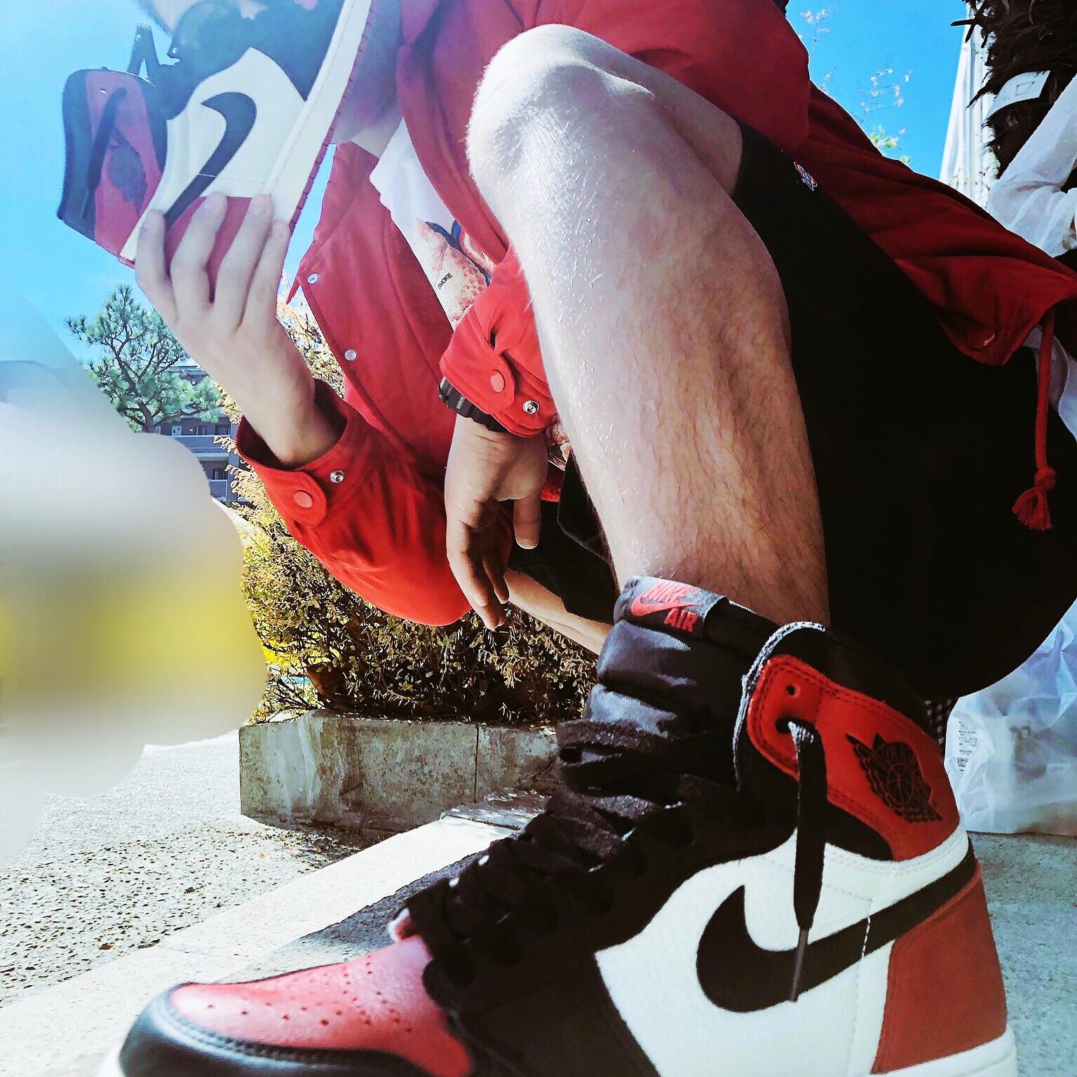 エアジョーダン1 Bred Toeはすごくかっこよくお気に入りの1足です😁履くと