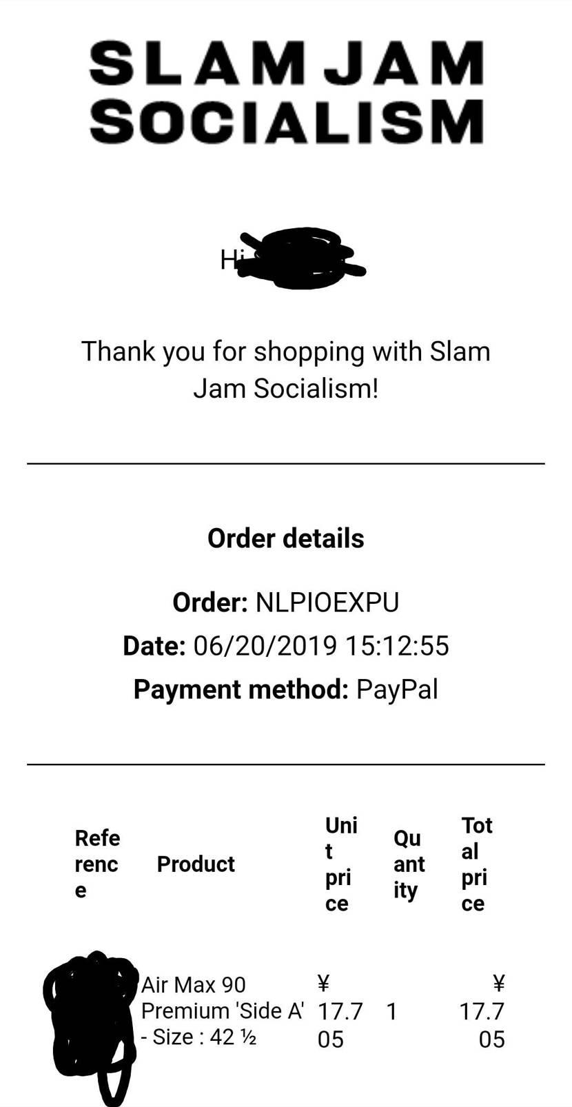 One block downで購入した後、Slam jamで当選してダブってしま
