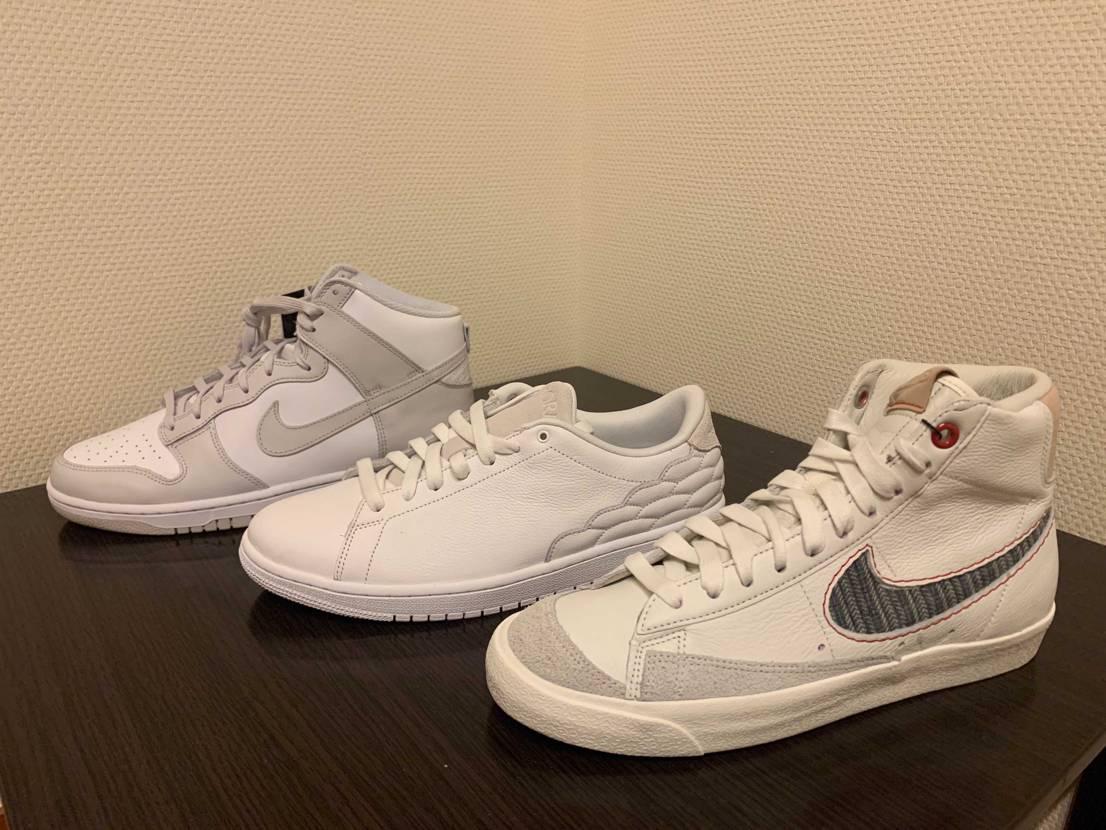 白系の靴を一足に絞りたいけど、決まらない、、、  皆さんならどれを残しますか