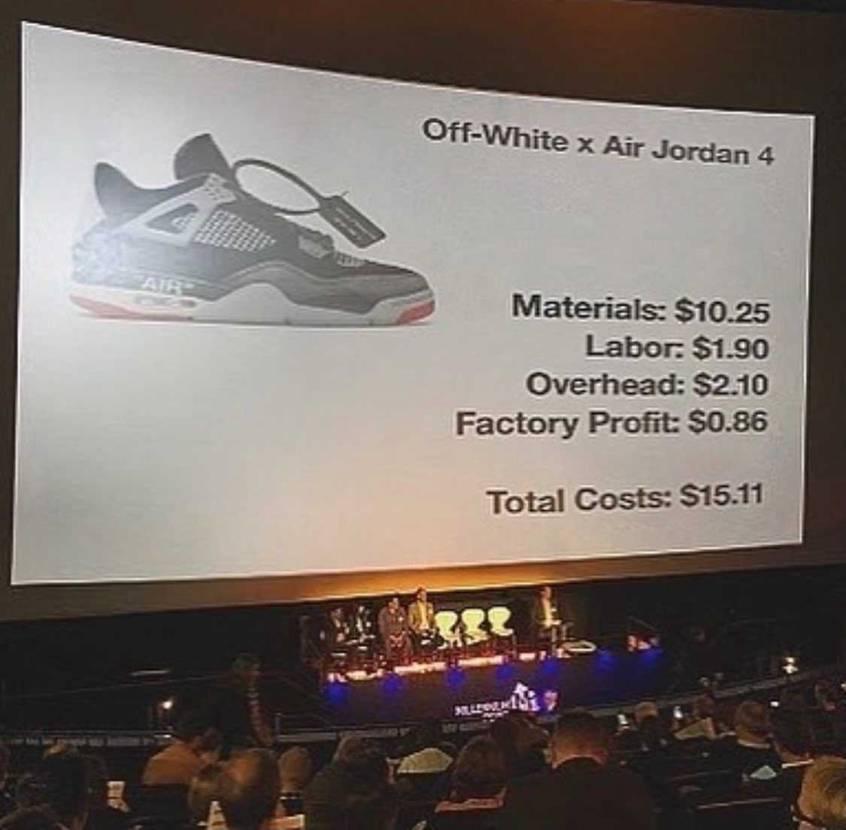スニーカーの適正原価って全然分かんないけど、 このコストならロット数相当あるん