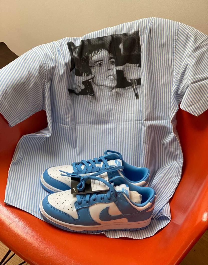 snkrsで当選したダンクと先日購入したsupのiggy popストライプシャツ