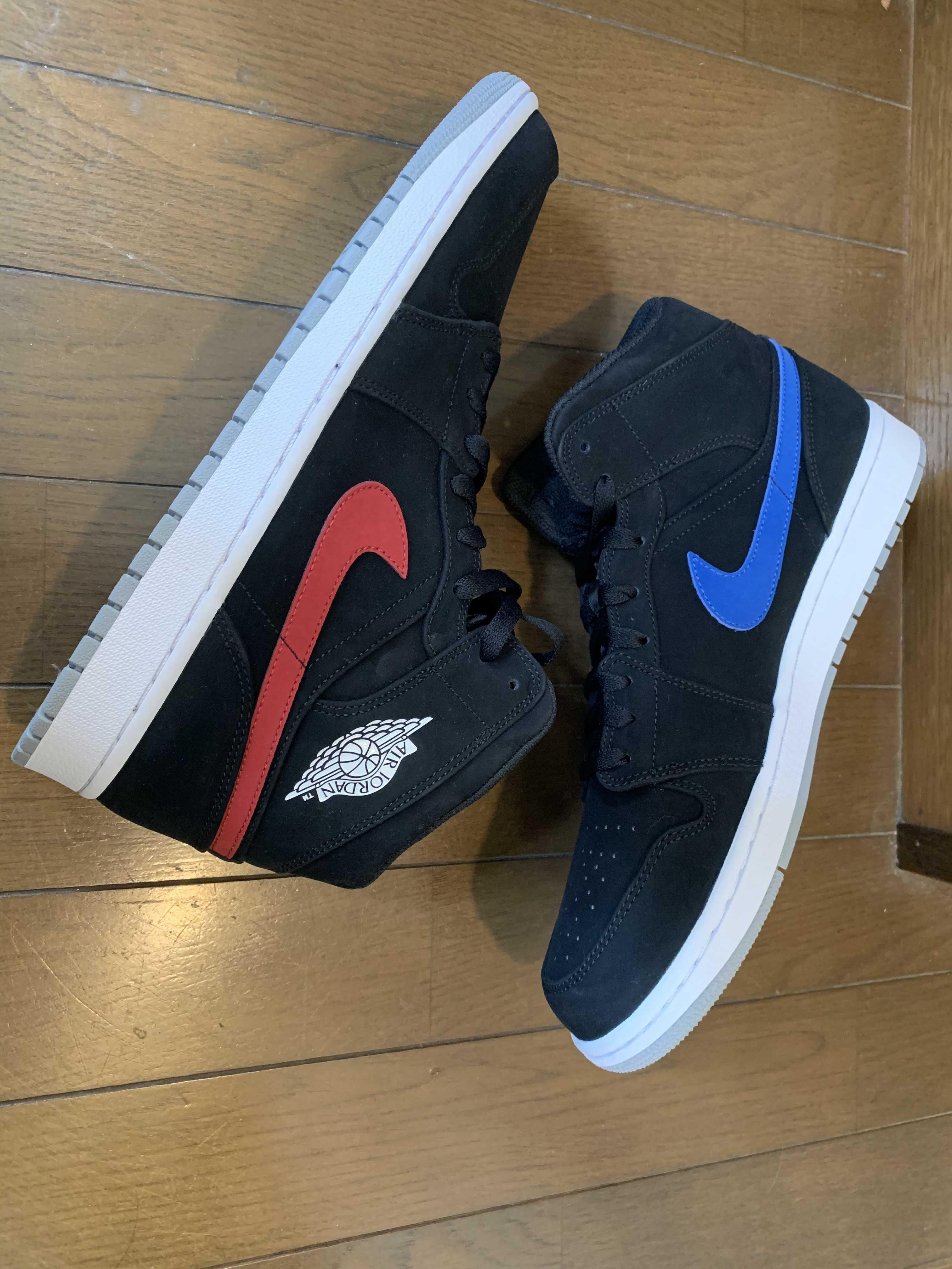 Jordan 1 Mid Multi-Color Swoosh Black