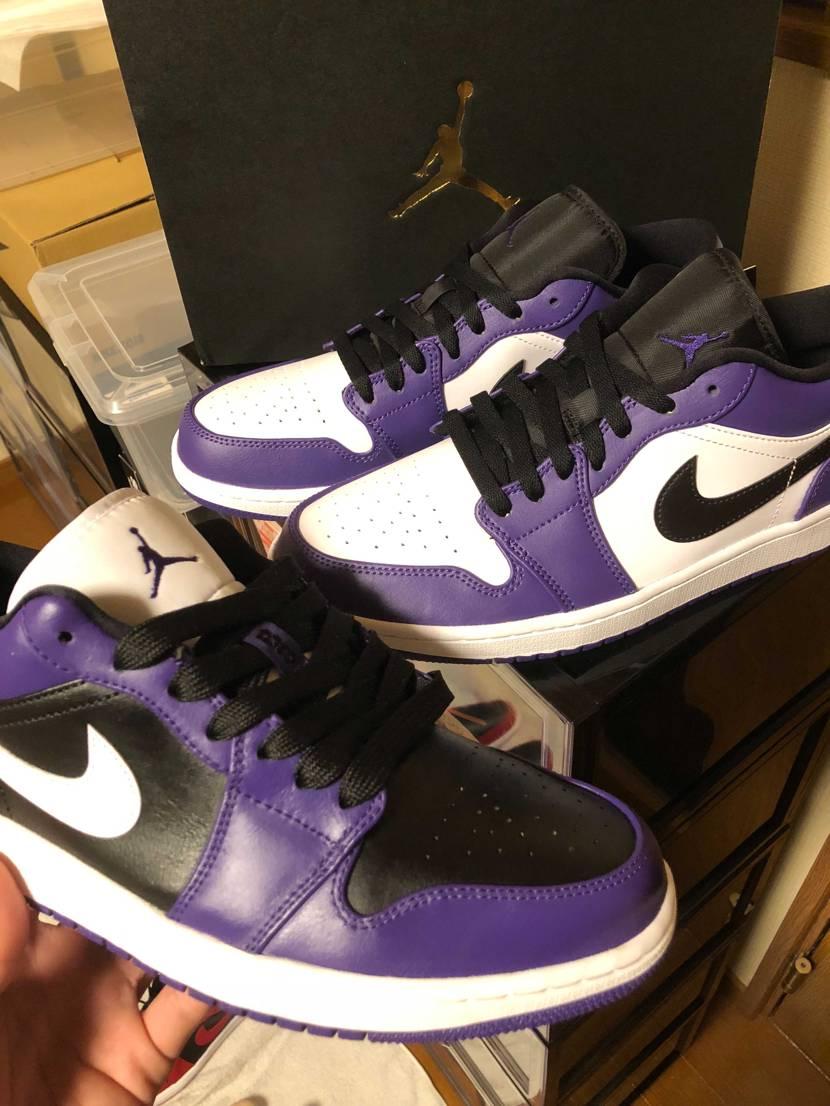 ABCから届いたaj1紫LOW良き😆👍 HIより微妙に色薄いくらいです❗️