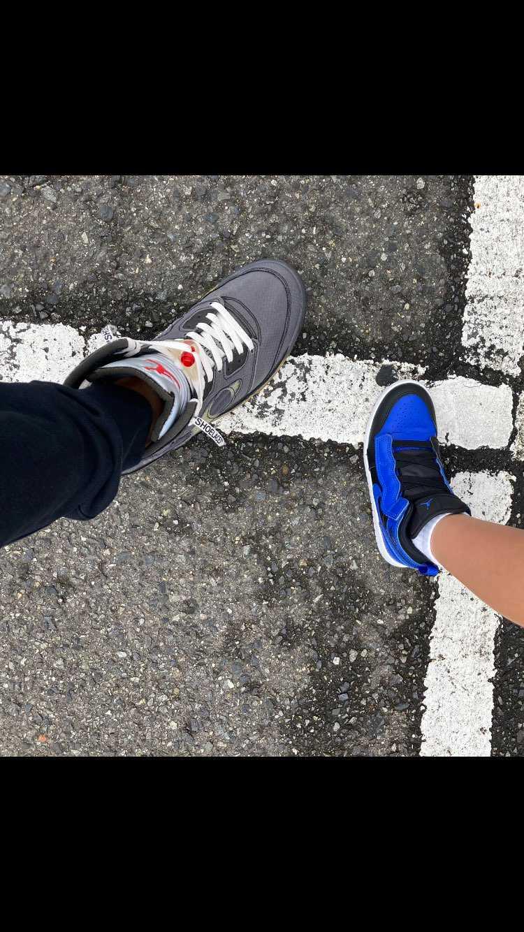 親子でジョーダン履いてみた! パパがスニーカーを大切にしてるのを知ってるからか