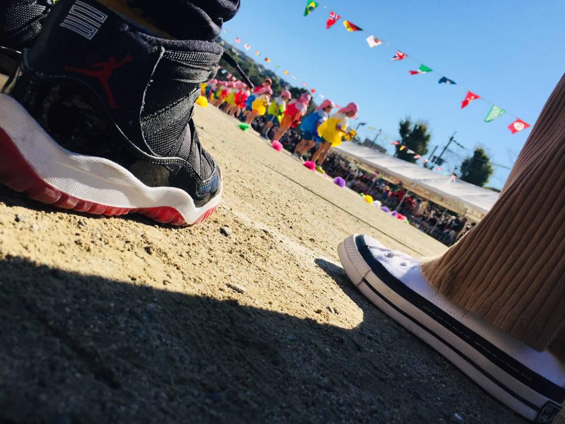 今日は下の子の運動会🌰  パーカーで来たけど昼間は暑いで