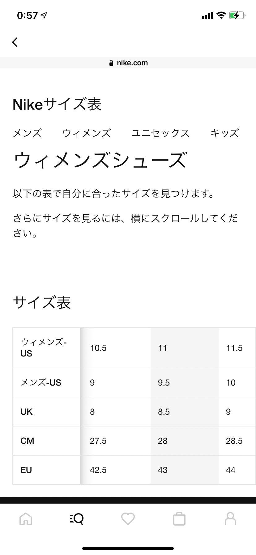 メンズエアマックス系マイサイ28cm(US10UK9)の場合、NIKE公式サイズ