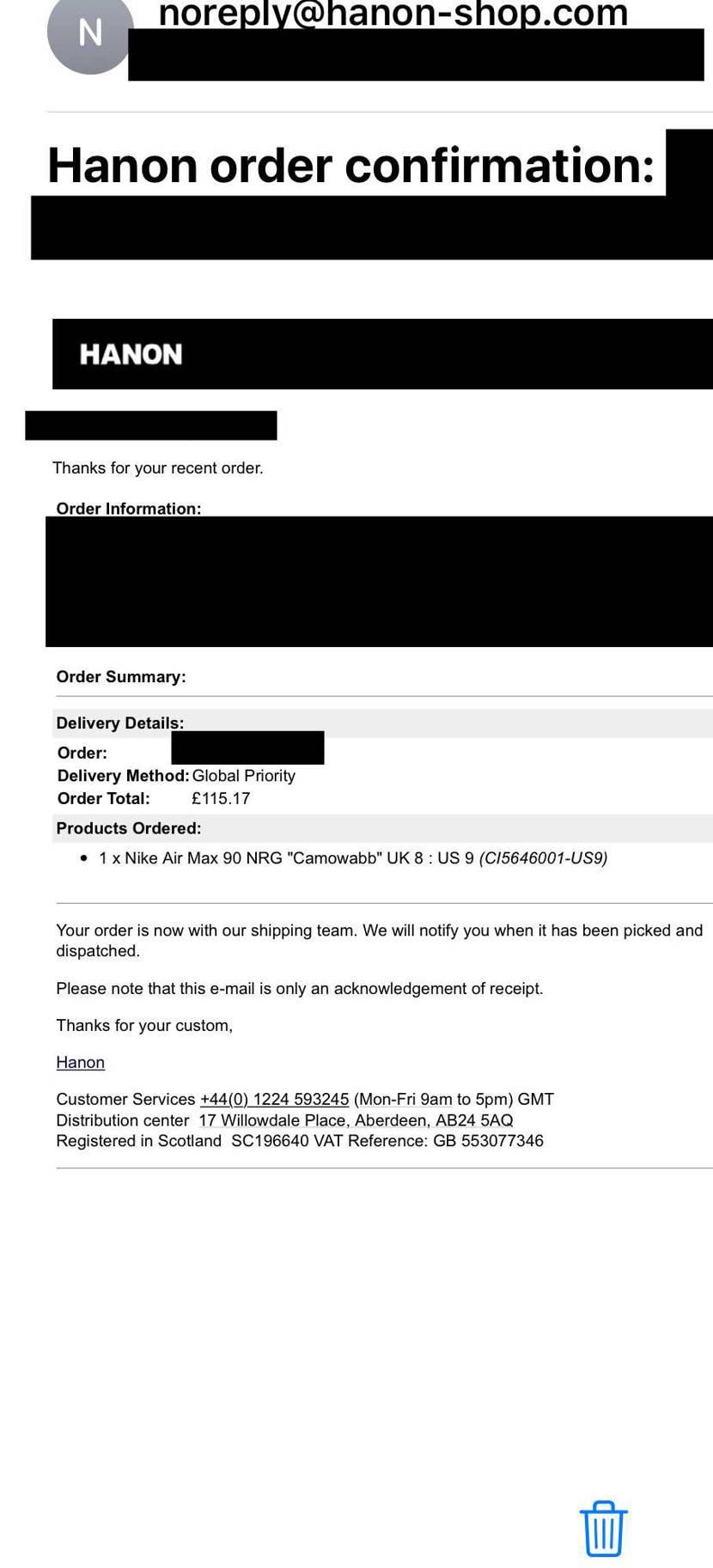 HANONから、オーダー通したよ。のメール。 こっちだったかー。完全に忘れてた
