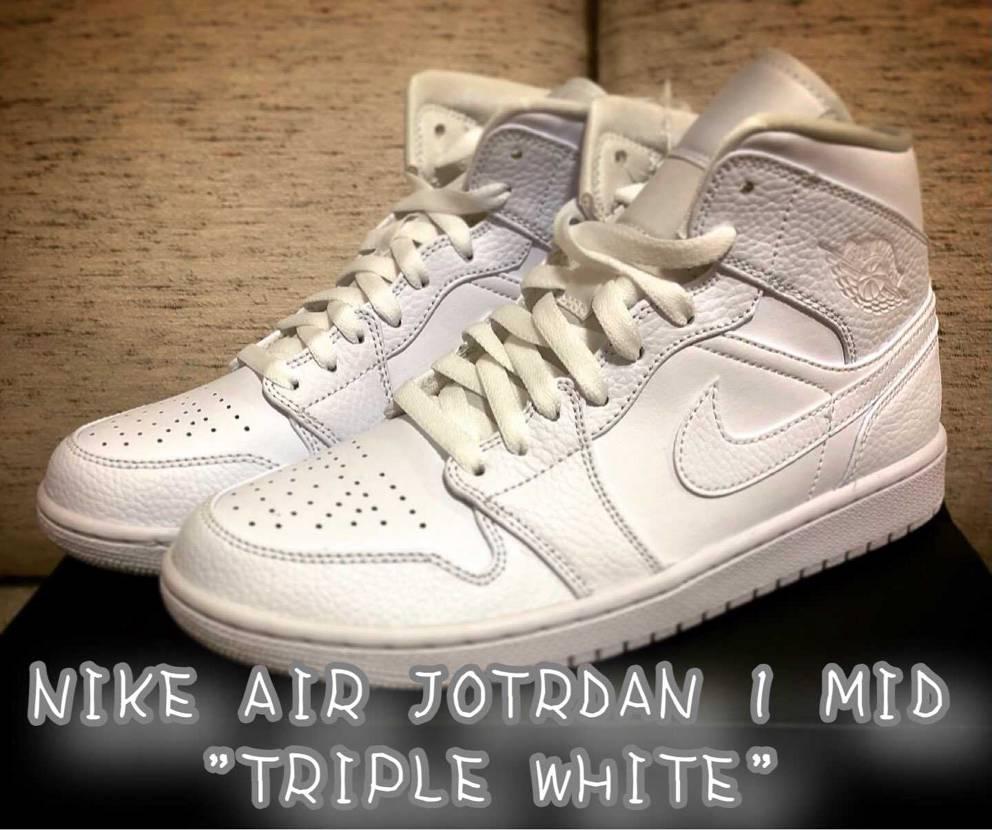 "NIKE AIR JOTRDAN 1 MID ""TRIPLE WHITE"""