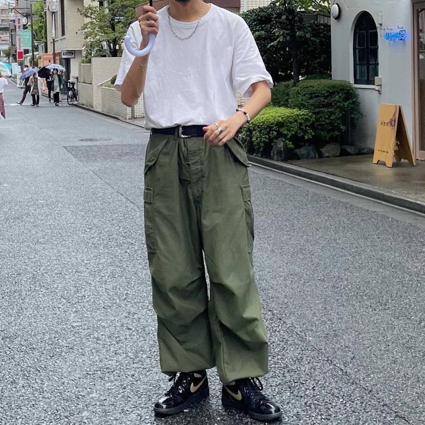 T-shirt → ユニクロ pants → US military M65