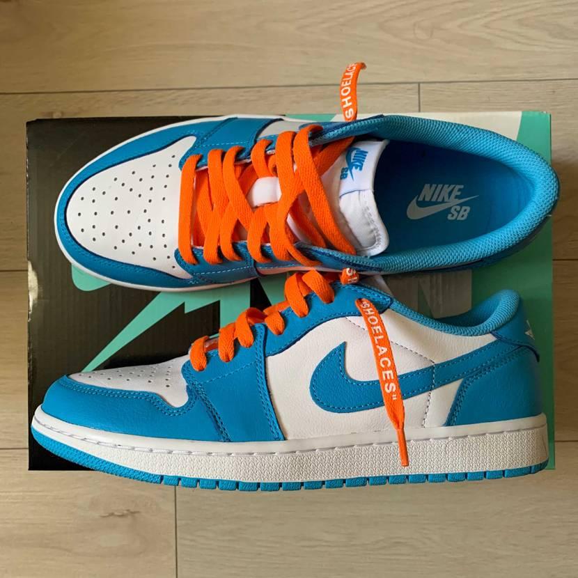 靴紐オレンジにしたらめっちゃ可愛い。#nike #スニーカー好き #aj1 #a