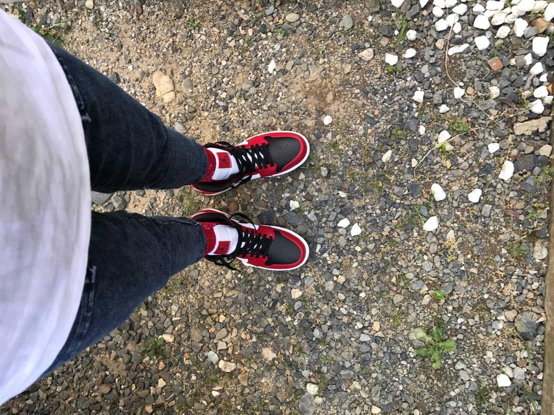 先週末履いてみた。良いではないか。👍 #スニーカー好き #aj1 #airjor