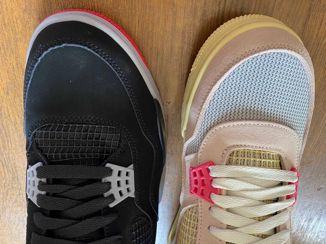 比較してみると、各パーツの形も違うし木型も違う  ソール以外は別のシューズと