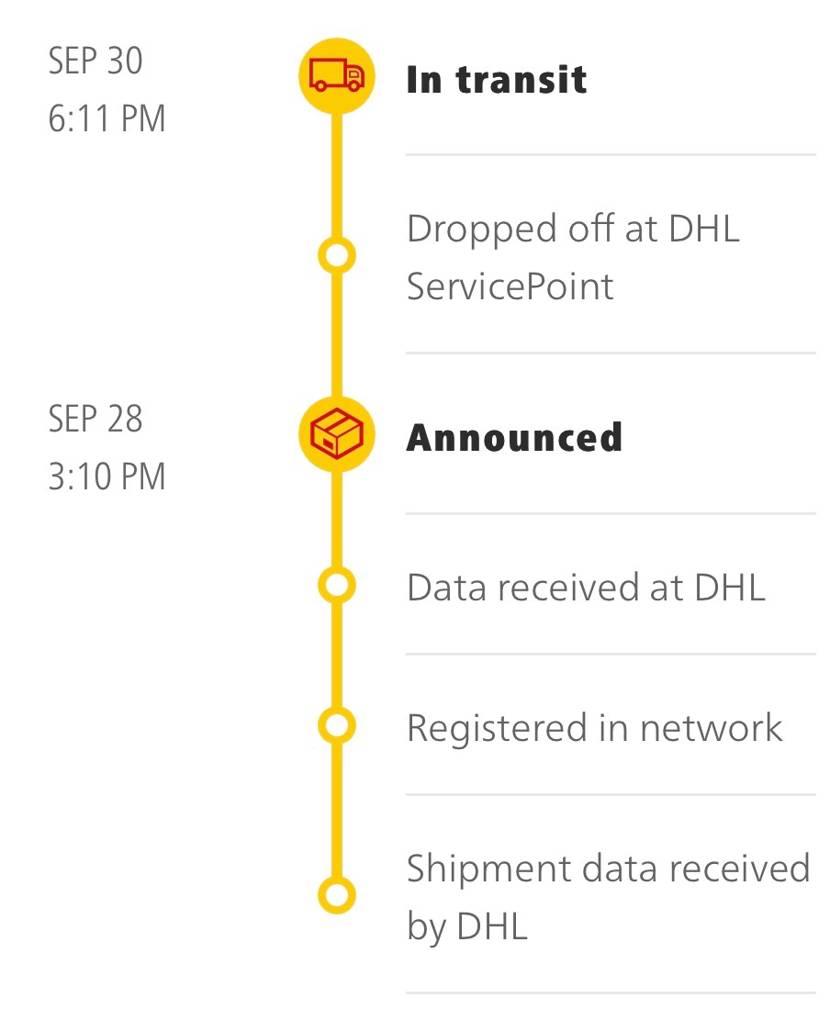 9月30日の更新からここから動かない😢 初めて海外の物を買うのでどれぐらいで届