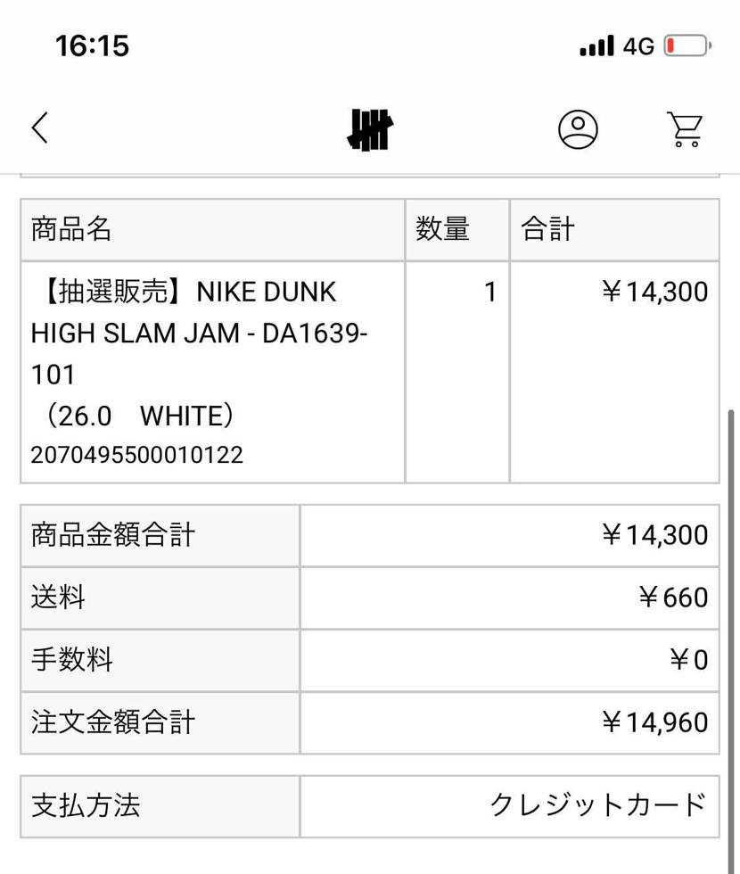 あれ?スラムジャムのダンクって17050円じゃ無かった?
