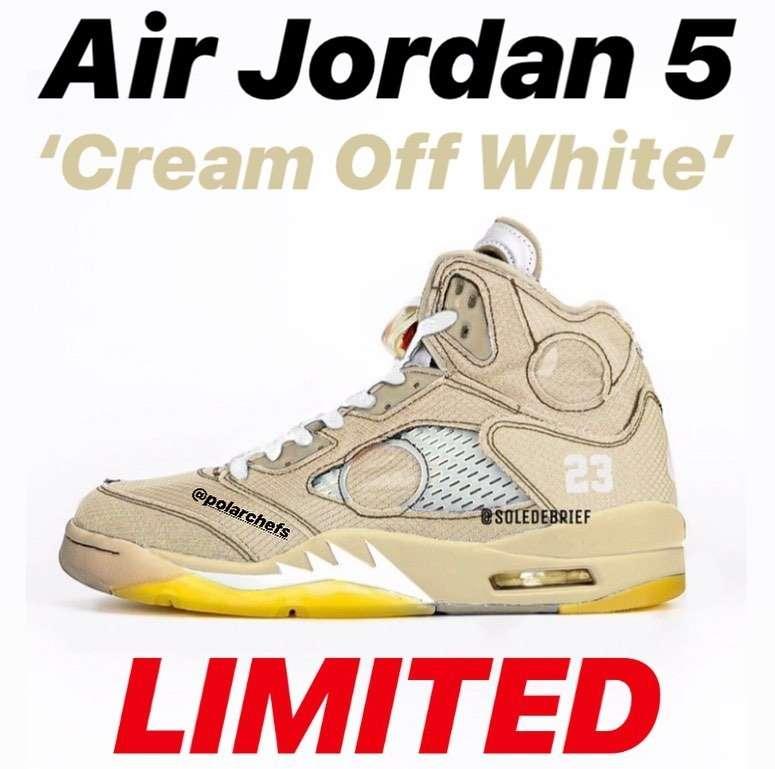 """Nike x Offwhite Air Jordan5 """"Cream"""" ブラック"""