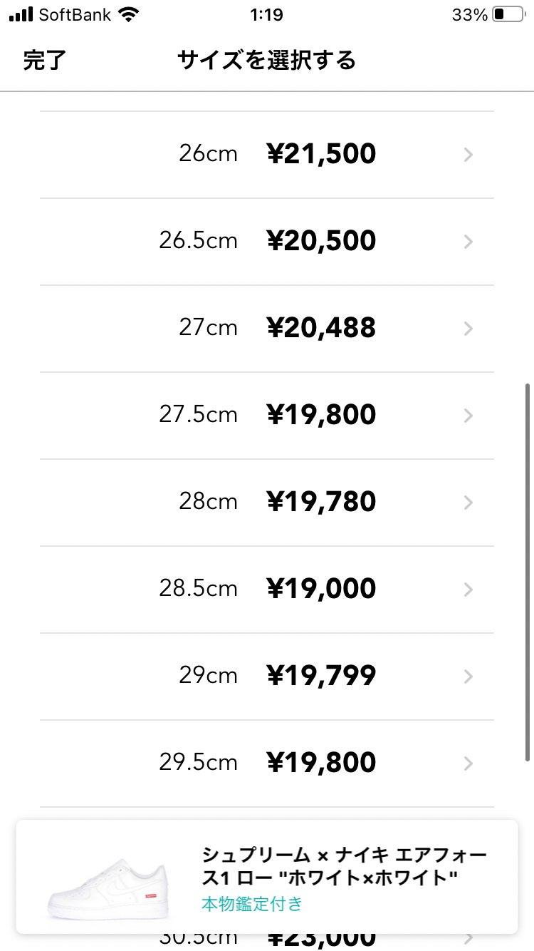 とうとう 1万円台までに下がってきた!^ ^   シュプリームもどんどん