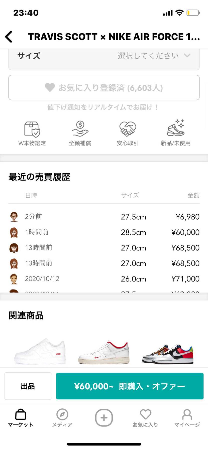 トラヴィスのエアフォース27.5が6980円で出品されて購入されてるけど出品者の