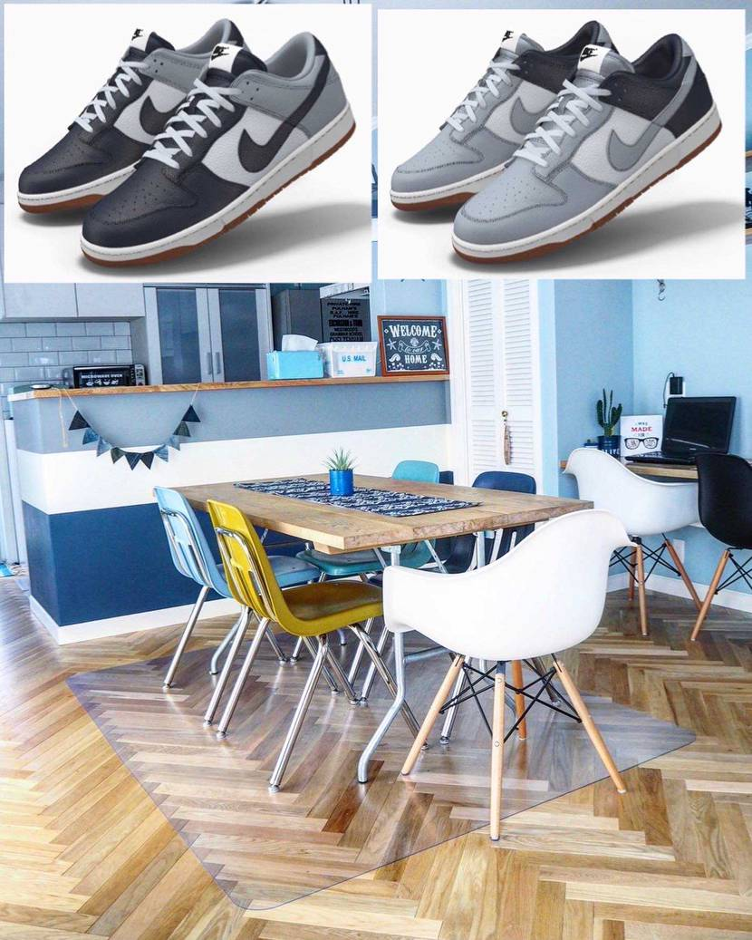 インテリアとスニーカー好きが高じてキッチンカウンターの配色(グレー、ホワイト、ネ