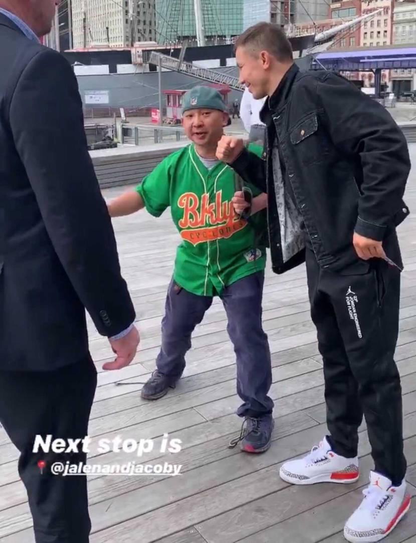 ゴロフキンがジョーダン3ニックスを履いてますね。