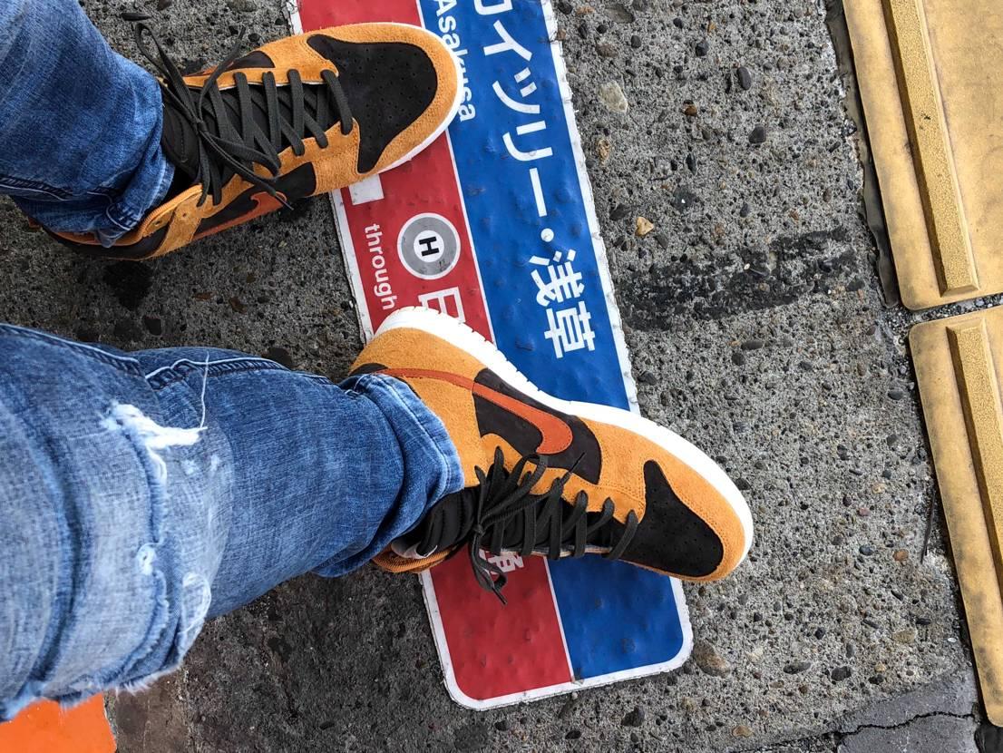 カレー色が強すぎたので、靴ヒモドットコムで購入したシューレースに交換しました。
