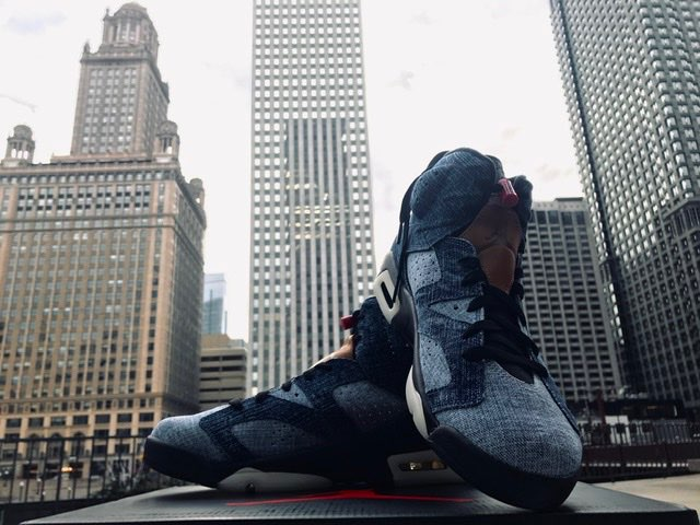 AJ6 Washed Denim in Chicago.