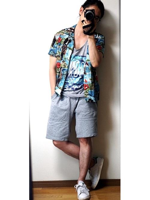 スタンスミス × アロハシャツ