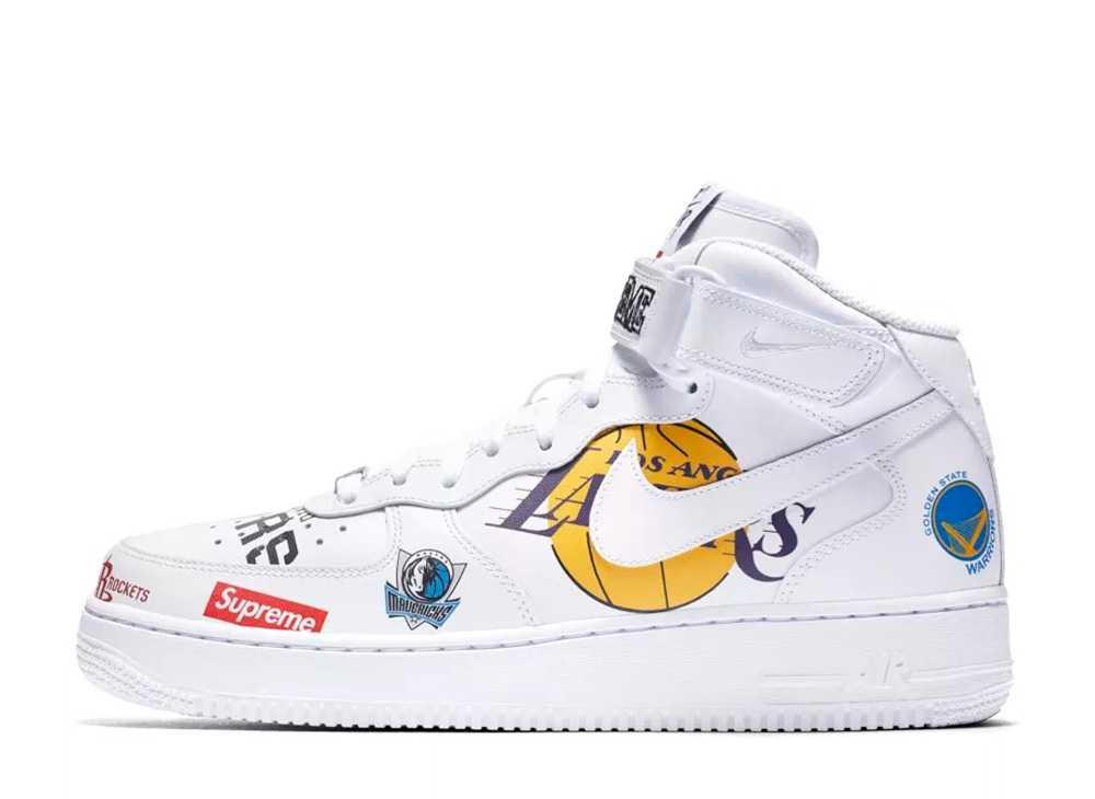 シュプリーム × NBA × ナイキ エアフォース1 ミッド '07 ホワイト